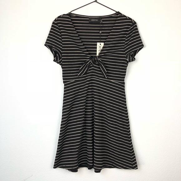 1f130ca792a MinkPink • Black Striped Tie Front Mini Dress